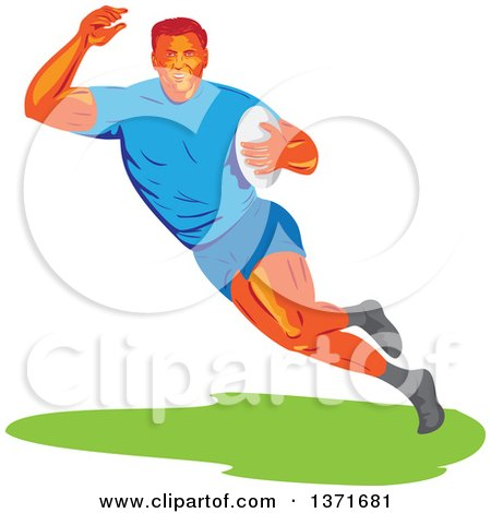 Clipart of a Retro Wpa Styled Male Rugby Player Runing with a Ball - Royalty Free Vector Illustration by patrimonio