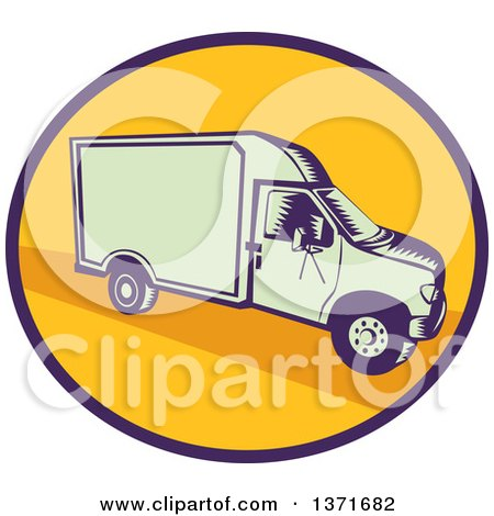 Clipart of a Retro Woodcut Delivery Truck or Van in a Blue and Yellow Oval - Royalty Free Vector Illustration by patrimonio