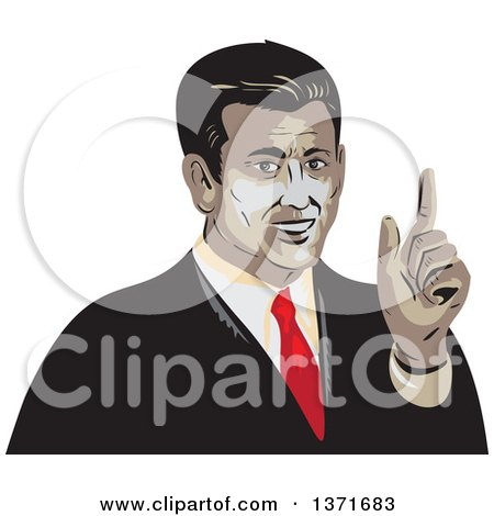 Clipart of a Retro WPA Styled Business Man Holding up a Finger - Royalty Free Vector Illustration by patrimonio