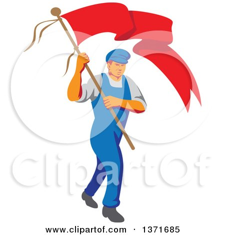 Clipart of a Retro Wpa Styled Male Worker Marching Wtih a Flag - Royalty Free Vector Illustration by patrimonio