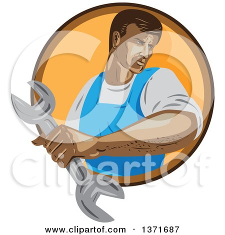 Clipart of a Retro Wpa Styled Mechanic Holding a Wrench and Emerging from a Brown and Orange Circle - Royalty Free Vector Illustration by patrimonio