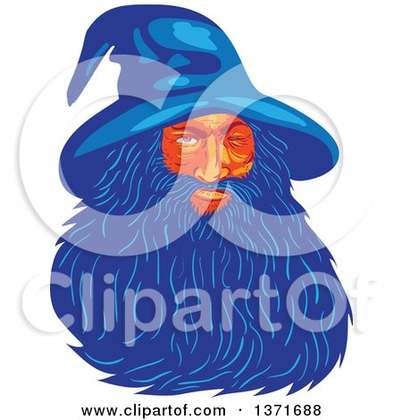 Retro Wpa Styled Wizard, or God, Odin with a Long Blue Beard Posters, Art Prints