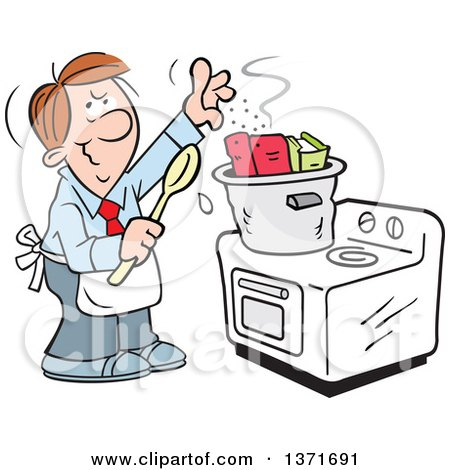 Clipart of a Cartoon Brunette Caucasian Man Cooking the Books on a Stove - Royalty Free Vector Illustration by Johnny Sajem