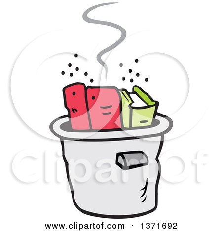 Clipart of a Cooking the Books Concept with Books in a Pot - Royalty Free Vector Illustration by Johnny Sajem