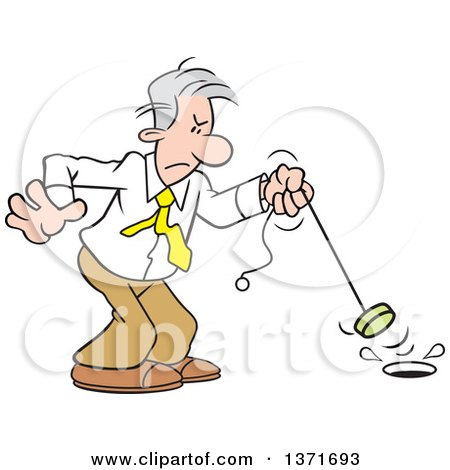Clipart of a Cartoon Gray Haired Caucasian Man Pulling the Plug to End a Project - Royalty Free Vector Illustration by Johnny Sajem