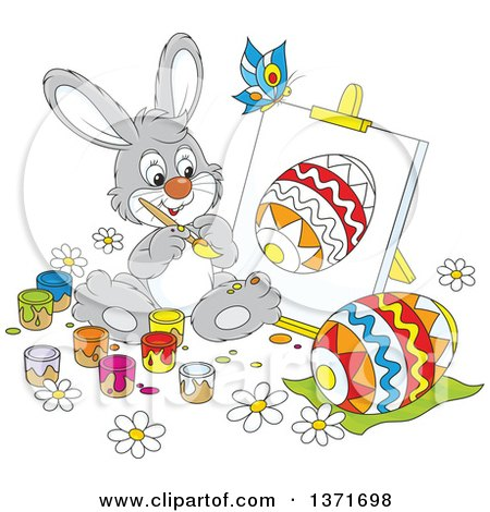 Clipart of a Cartoon Gray Bunny Rabbit Painting a Canvas and Easter Egg, a Butterfly Flying Above - Royalty Free Vector Illustration by Alex Bannykh