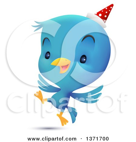 Clipart of a Cute Blue Bird Wearing a Party Hat and Dancing - Royalty Free Vector Illustration by Qiun