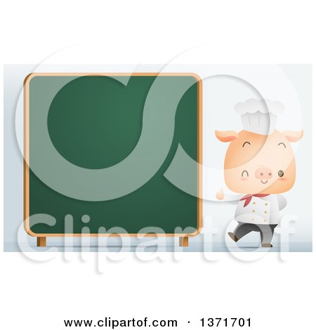 Clipart of a Cute Chef Pig Giving a Thumb up and Winking by a Chalk Board - Royalty Free Vector Illustration by Qiun
