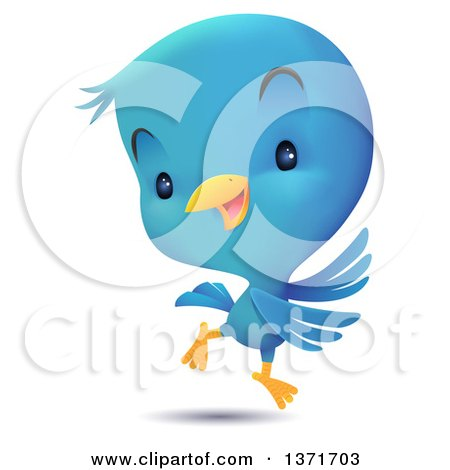 Clipart of a Cute Blue Bird Dancing - Royalty Free Vector Illustration by Qiun