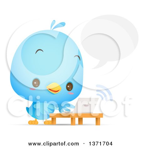 Clipart of a Cute Blue Bird Talking and Using a Laptop - Royalty Free Vector Illustration by Qiun