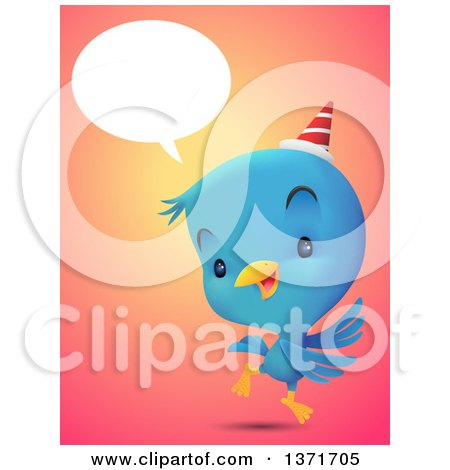 Clipart of a Cute Blue Bird Talking, Wearing a Party Hat and Dancing - Royalty Free Vector Illustration by Qiun