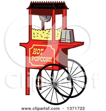 Clipart Of A Wheeled Popcorn Machine Stand - Royalty Free Vector Illustration by Clip Art Mascots
