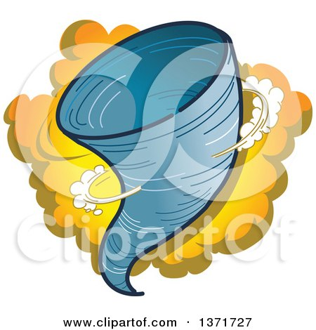 Clipart Of A Tornado And Dust Cloud - Royalty Free Vector Illustration by Clip Art Mascots