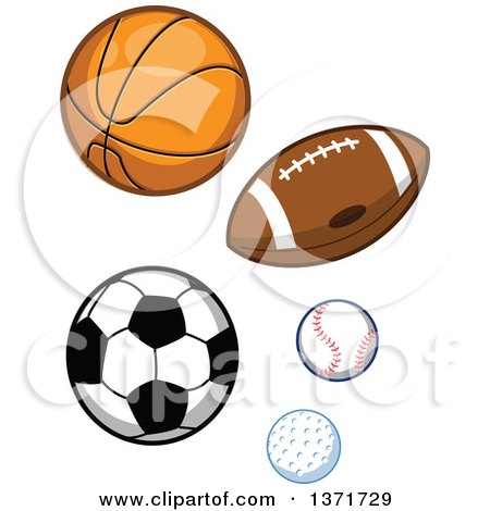 Clipart Of Sports Balls - Royalty Free Vector Illustration by Clip Art Mascots