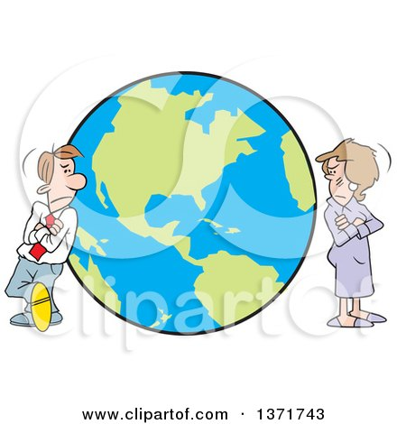 Cartoon White Business Man and Woman, or Couple, Standing Worlds Apart on Opposite Ends of the Globe Posters, Art Prints