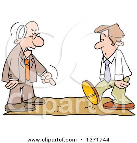 Clipart of a Cartoon White Business Man Being Called on the Carpet by His Boss - Royalty Free Vector Illustration by Johnny Sajem