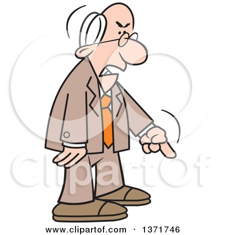 Clipart of a Cartoon Angry Old White Business Man ...