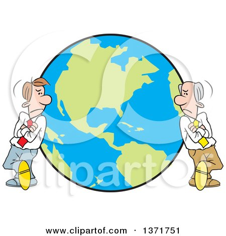 Clipart of Cartoon White Business Men Leaning on Different Sides of a Globe, a World Apart - Royalty Free Vector Illustration by Johnny Sajem