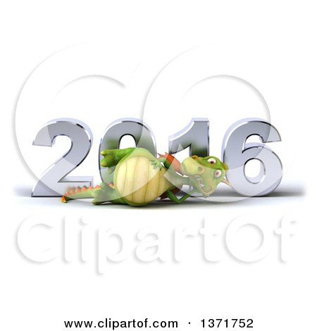 Clipart of a 3d Green Dragon Resting on His Side in Front of a Chrome New Year 2016, on a White Background - Royalty Free Illustration by Julos