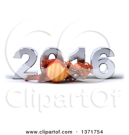 Clipart of a 3d Red Dragon Resting on His Side in Front of a Chrome New Year 2016, on a White Background - Royalty Free Illustration by Julos