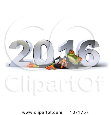 Clipart of a 3d Green Business Springer Frog Resting on His Side in Front of a Chrome New Year 2016, on a White Background - Royalty Free Illustration by Julos