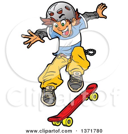 Clipart Of A White Teen Skater Boy Jumping - Royalty Free Vector Illustration by Clip Art Mascots