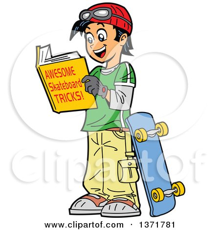 Clipart Of A Happy Teenage Asian Boy Reading a Book About Skateboarding Tricks - Royalty Free Vector Illustration by Clip Art Mascots