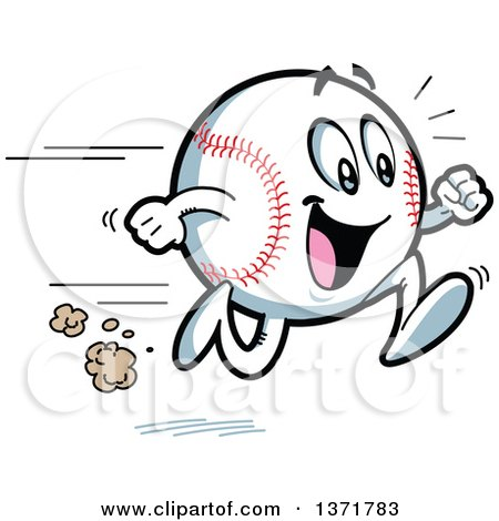 Clipart Of A Happy Energetic Baseball Character Running - Royalty Free Vector Illustration by Clip Art Mascots