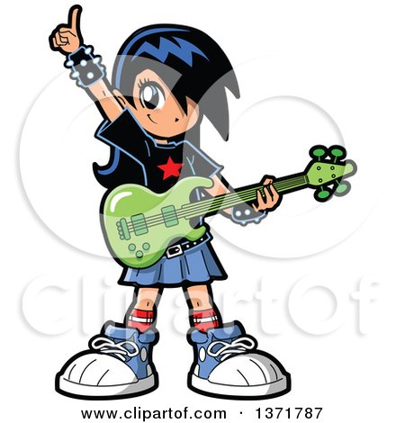 Clipart Of A Manga Girl Holding an Electric Guitar - Royalty Free Vector Illustration by Clip Art Mascots