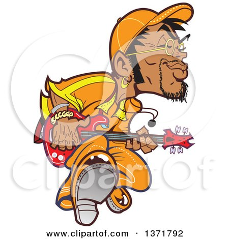 Clipart Of A Groovy Black Male Bass Player - Royalty Free Vector Illustration by Clip Art Mascots