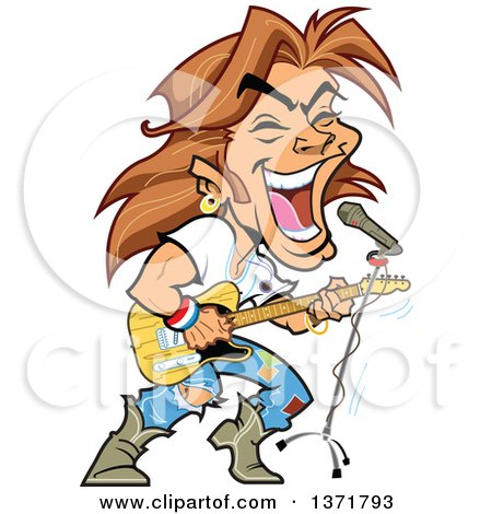 White Male Rock Star Singing And Playing a Guitar Posters, Art Prints