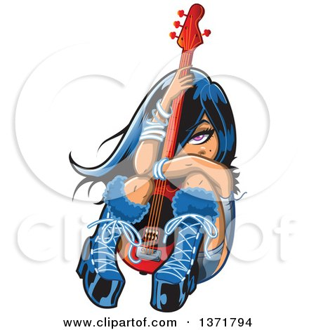 Clipart Of An Emo Shy Girl Sitting and Hugging a Guitar - Royalty Free Vector Illustration by Clip Art Mascots