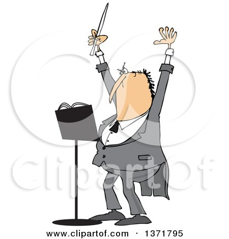 Clipart of a Cartoon Chubby White Male Music Conductor Holding up an Arm and Wand - Royalty Free Vector Illustration by djart