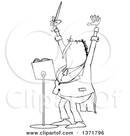 Clipart of a Cartoon Black and White Chubby Male Music Conductor Holding up an Arm and Wand - Royalty Free Vector Illustration by djart