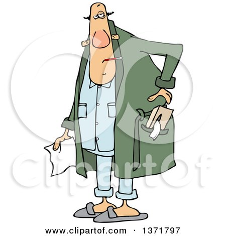 Clipart of a Cartoon Chubby Sick White Man with a Tissue Box in His Robe Pocket - Royalty Free Vector Illustration by djart