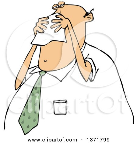 Clipart of a Cartoon Chubby White Business Man Blowing His Nose into a Tissue - Royalty Free Vector Illustration by djart
