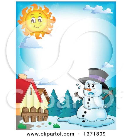Clipart of a Border of a Christmas Snowman Melting Under ...