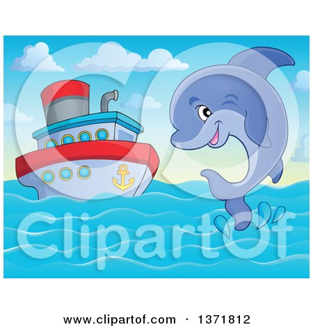 Clipart of a Cute Dolphin Leaping out of Water near a Boat - Royalty Free Vector Illustration by visekart