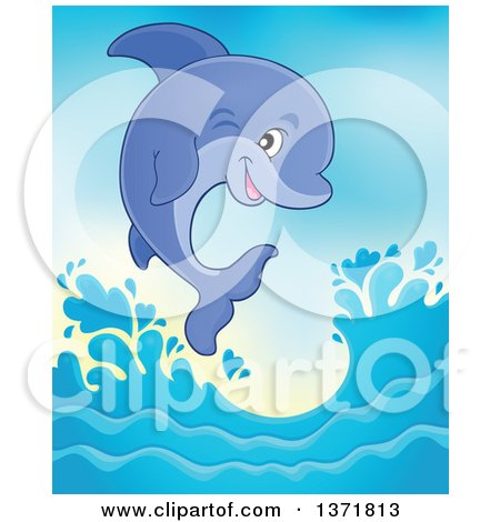 Clipart of a Cute Dolphin Leaping out of Water - Royalty Free Vector Illustration by visekart