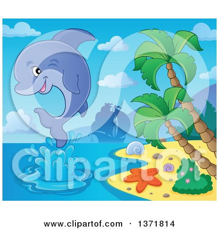 Clipart of a Cute Dolphin Leaping out of Water near an Island, with a Silhouetted Ship in the Background - Royalty Free Vector Illustration by visekart