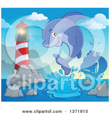 Clipart of a Cute Dolphin Leaping out of Water near a Lighthouse, with a Silhouetted Ship - Royalty Free Vector Illustration by visekart