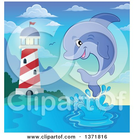Clipart of a Cute Dolphin Leaping out of Water near a Light House - Royalty Free Vector Illustration by visekart