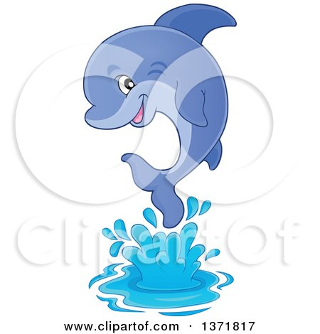 Clipart of a Cute Dolphin Jumping out of Water - Royalty Free Vector Illustration by visekart