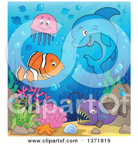Clipart of a Cute Dolphin and Fish at a Reef - Royalty Free Vector Illustration by visekart