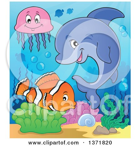 Clipart of a Cute Dolphin and Fish in the Ocean - Royalty Free Vector Illustration by visekart