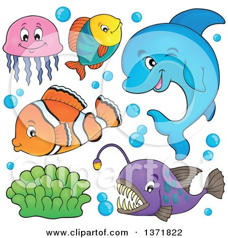 Clipart of a Cute Dolphin and Fish - Royalty Free Vector Illustration by visekart
