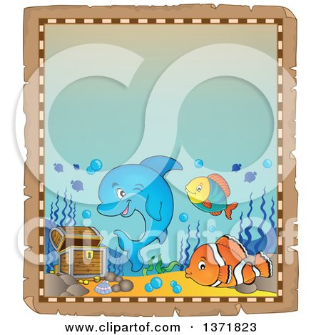 Clipart of a Cute Dolphin and Fish with Sunken Treasure on an Aged Parchment Page - Royalty Free Vector Illustration by visekart