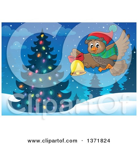 Clipart of a Cartoon Owl Wearing a Winter Scarf and Hat, Flying and Ringing a Bell over a Christmas Tree - Royalty Free Vector Illustration by visekart