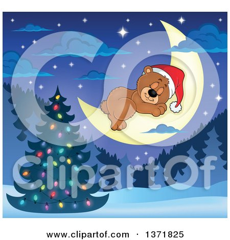 Clipart of a Cute Brown Christmas Bear Wearing a Santa Hat and Sleeping on a Crescent Moon over a Tree and Forest - Royalty Free Vector Illustration by visekart