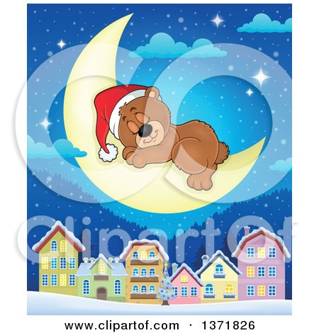 Clipart of a Cute Brown Christmas Bear Wearing a Santa Hat and Sleeping on a Crescent Moon over a Village - Royalty Free Vector Illustration by visekart